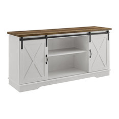 58-inch Farmhouse Wood TV Stand With Sliding Doors White/Rustic Oak