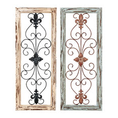 Uma Enterprises - French Country Wood and Metal Wall Panels, Multi-Color, 2-Piece Set - Wall Accents