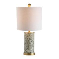 "Swirl 20.5"" Ceramic Table Lamp, Brass/Gray"