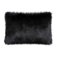 Helen Moore - Ebony Black Faux Fur Cushion, Microfibre Pad, 45x30 cm - Scatter Cushions
