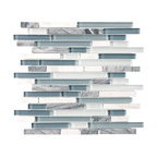 """Bliss BSWS Stone and Glass Linear Mosaic Tile, 12""""x12"""""""
