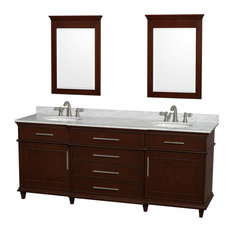 "Wyndham Collection 80"" Berkeley Dark Chestnut Double Vanity, Carrera Marble Top"