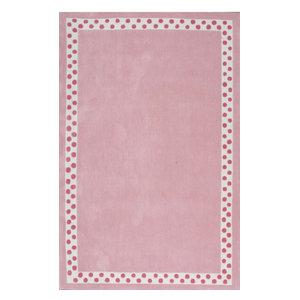 Handmade Modern Solid Border Kids Rug, Pink, 5'x8'