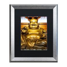 "Philippe Hugonnard 'Gold Buddha' Art, Silver Frame, Black Matte, 20""x16"""
