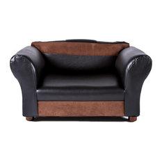 Mini Sofa Black and Brown Pet Bed