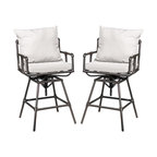 Varick Outdoor Adjustable Pipe Bar Stools With Cushions, Set of 2