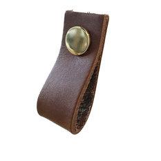 Leather Loop Drawer Handles, Brown, Brass Rivets, Set of 3