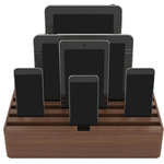 ALLDOCK - ALLDOCK Large x6 Port Multi Device Charging Station, Walnut, Large - Changing the look of the USB universal charging for all Tablets, Phones ect. In a quality matte finish, with rubberized plastic, solid timbers or combinations of both.