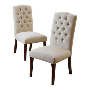 GDF Studio Clark Dining Chairs, Natural Linen, Set of 2