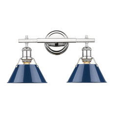 Orwell CH 2-Light Bath Vanity, Chrome With Navy Blue Shade