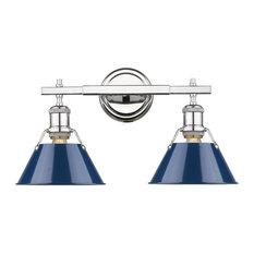 Orwell CH 2-Light Bath Vanity, Chrome With Navy Blue Shade