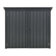 Galvanized Steel Trash Recyclables Storage Shed, 2-Point Locking, Dark Gray