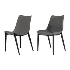 Modrest Frasier - Modern Grey Eco-Leather Dining Chair (Set of 2 )