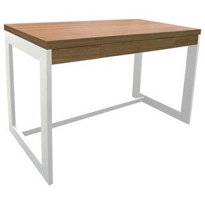 Funda Office Desk With-Drawer, Oak/White