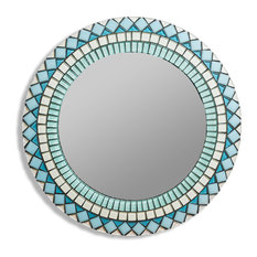 """Blue and Silver Tiled Mosaic Round Wall Mirror, 20"""""""