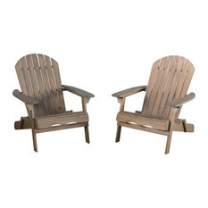 GDFstudio   Denise Austin Home Milan Outdoor Folding Adirondack Chair, Set  Of 2, Gray