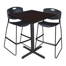 "Cain 36"" Square Café Table, Mocha Walnut and 2 Zeng Stack Stools, Black"