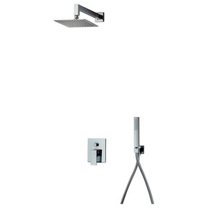 Square Chrome Shower Kit, Large