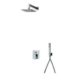 Square Chrome Shower Kit, Small