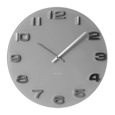 Round Vintage-Style Wall Clock, Grey