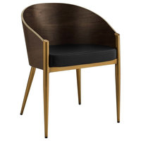 Cooper Faux Leather Dining Armchair in Gold