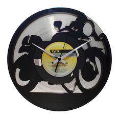 Cafe Racer Wall Clock, Silver Back