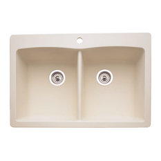 Blanco 440222 Diamond Silgranit Drop-In Equal Double-Bowl Sink, Biscuit