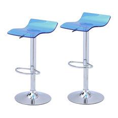adeco adeco transparent acrylic micro back bar stools set of 2 blue