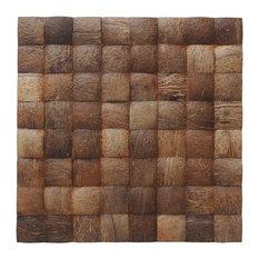 """15.75""""x15.75"""" Grand Desert Grain Coconut Shell Wall Tiles, Set of 6"""
