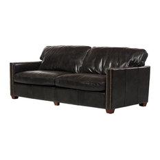 "Rifkin 83"" Leather Sofa, Black"