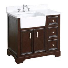 """Zelda 36"""" Bathroom Vanity, Base: Chocolate, Top: Quartz"""