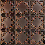 """Decorative Ceiling Tiles - Casablanca, Faux Tin Ceiling Tile, Antique Copper, 24""""x24"""" - PVC, 24x24, Tin Look & No Metal Echo!, Easy Drop In Installation, Cuts With Scissors, Affordable, Will Not Rust, Light Weight,"""