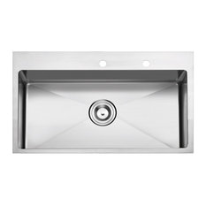 "Overmount Stainless Steel 2-Hole Kitchen Sink, 33"", Single Bowl"