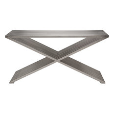 Amici Prague Burshed Stainless Steel Console Table