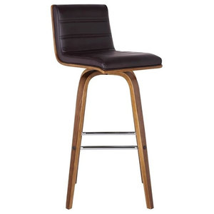 "Vienna 30"" Bar Height Barstool, Walnut Wood Finish With Brown Faux Leather"