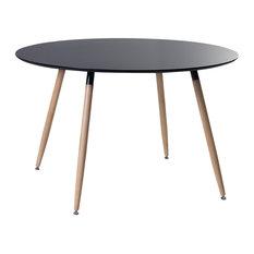 Bovio Black Rubberwood Dining Table, Large