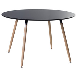 Bovio Black Rubberwood Dining Table, Large