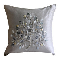 """Silver Mother Of Pearls Tree 18""""x18"""" Silk Pillows Covers for Couch, Silver Leaf"""