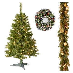 "4'Fir Grande Wrapped Tree,Decorative Elegance Garland,24""Crestwood Spruce Wreath"