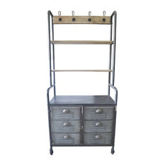 Pemberly Row Pepper Foyer Cabinet with Shelf and 6 Drawers