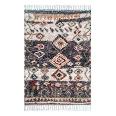 nuLOOM Southwestern Rosemarie Moroccan Tassel Shag Area Rug, Gray, 9'x12'