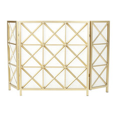 GDF Studio Mandralla 3-Paneled Iron Fireplace Screen, Gold