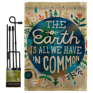 Earth In Common Inspirational Everyday Garden Flag 13 X18 5 Contemporary Flags And Flagpoles By Breeze Decor