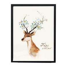 Nordic Small Fresh Wall Painting Decorative UnFramed Artwork For Home, Sika Deer