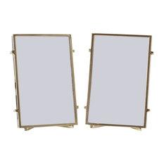 "Naxos Square Rod Photo Frame, 5""x7"", Set of 2, Gold"