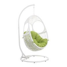 Modern Outdoor Patio Malaga Swing Chair, Stand White Basket Lime Green Cushion