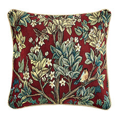 William Morris Tree of Life Art Pillow Covers - Throw Cushion Case - Red