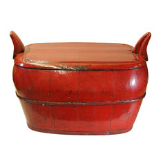 Chinese Village Vintage Wood Oval Red Lacquer Box Bucket Hcs5002