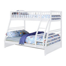 Twin Over Full Bunk Bed Angled Ladder And Slatted Guardrails White Simple
