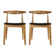 Set of 2 Real Oak Wood PU Leather Cushion Seat Modern Wood Side Dining Chair, Wa